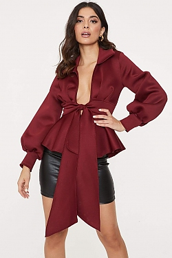 See Bishop Sleeve Belted Peplum Blouse in Burgundy