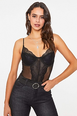See Sheer Mesh and Lace Bodysuit in Black