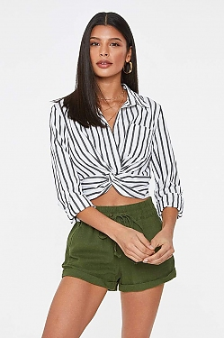 See Twist Front Button Up Black Striped Long Sleeve in Black