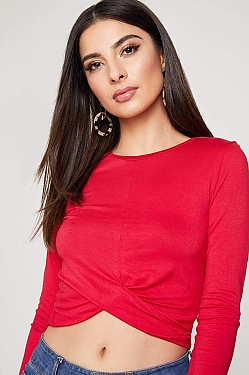 See Draped Hem Long Sleeve Top in Deep Red