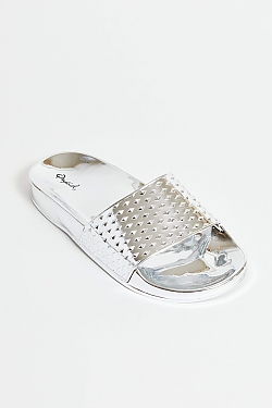 See Chrome Daddy Silver Slides in Silver