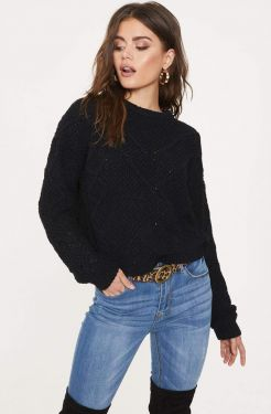 See Relaxed Super Soft Knit Sweater in Black