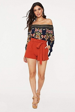 See Tied Waist Paper Bag Shorts in Rust