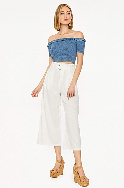 See Belted Cropped Pant in Black in White