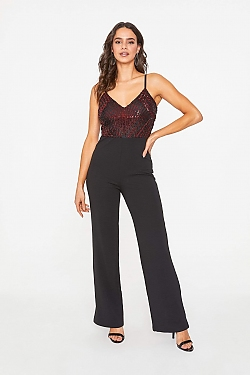 See Geometric Sparkle Wide Leg Jumpsuit in Black/Burgundy