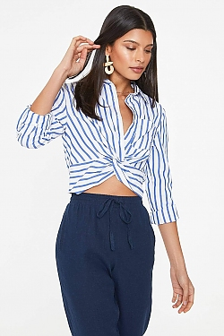 See Twist Front Button Up Black Striped Long Sleeve in Blue