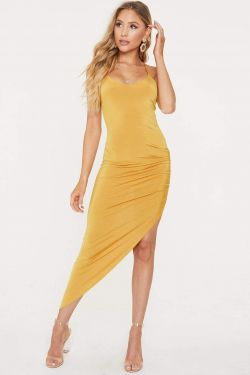 See Asymmetrical Ruched Slit Cami Dress in Mustard