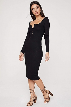 See Long Sleeve Midi Dress With Half Button Up Detail in Black