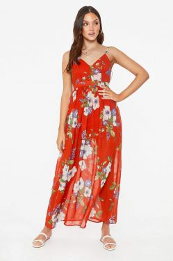 See Floral Backless Maxi Dress in Rust