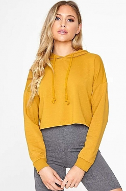 See Basic Cropped Hoodie in Dark Mustard