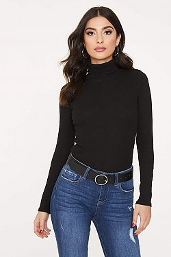 See Tight Ribbed Knit Turtleneck in Black