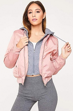 See Bomber Jacket With Built in Contrast Hoodie in Mauve