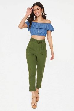 See High Waisted Tied Linen Pant in Olive