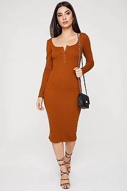 See Long Sleeve Midi Dress With Half Button Up Detail in Terracotta