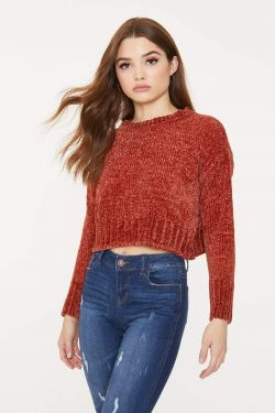 See Chenille Cropped Drop Shoulder Sweater in Rust