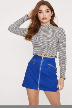 See High Neck Lettuce Edge Striped Crop Top in Soft White/Black