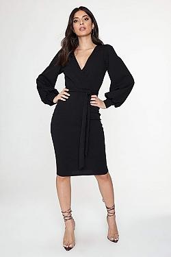 See Self Tie Surplice Midi Dress in Black