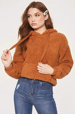 See Fluffy Teddy Hoodie in Cinnamon