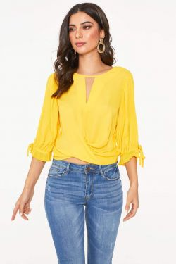 See Accordion Pleated Long Sleeved Blouse in Yellow