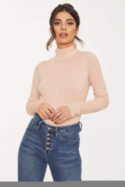 See Ribbed Knit Striped Turtleneck in Blush