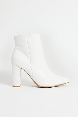 See Black Snake Pointy Toe Bootie in White