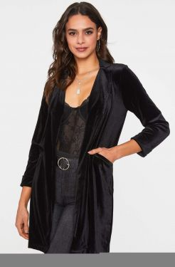 See Velvet Tailored Duster in Black