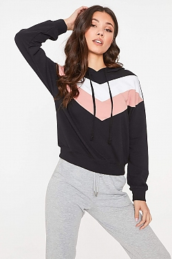 See Chevron Striped Hoodie in Black/White/Mauve