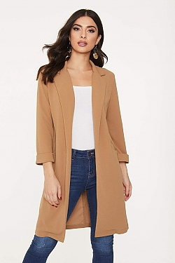 See Open Front Duster Coat in Mocha