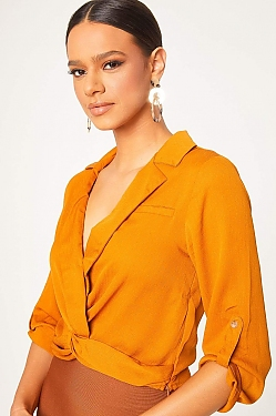 See Twist Front with Button Cuff Sleeve Blouse in Cognac