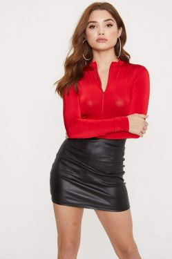 See High Neck Zip Up Front Long Sleeve Bodysuit in Red