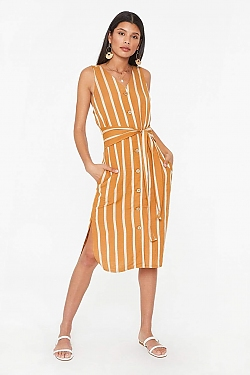 See Striped Linen Midi Dress in Mustard
