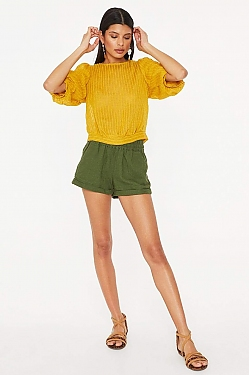 See Sheer Striped Blouse With Back Tie Detail in Mustard