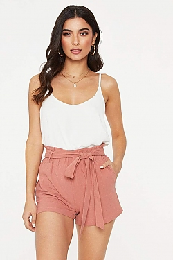 See Tied Waist Paper Bag Shorts in Khaki in Mauve