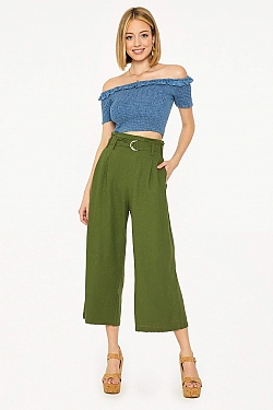 See Belted Cropped Pant in Olive