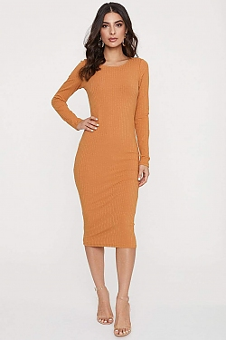 See Ribbed Long Sleeve Midi Dress in New Camel