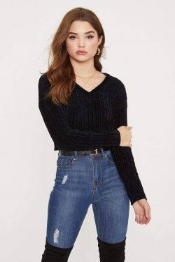 See V-Neck Ribbed Chenille Cropped Sweater in Black