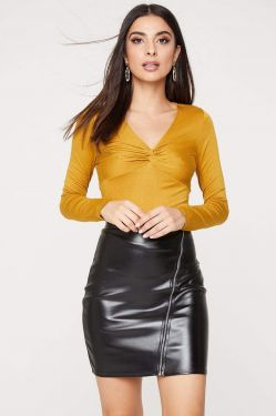 See Long Sleeve Twist Front Top in Dark Mustard