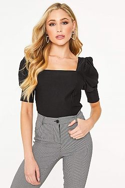 See Short Bishop Sleeve Crop Top in Black