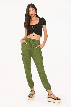 See Linen Cargo Pants in Olive