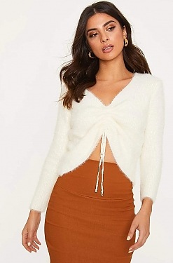 See Tie Up Ruched Eyelash Knit Sweater in Beige