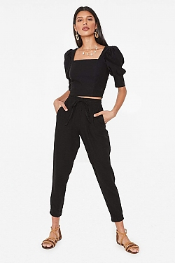 See Relaxed Linen Cropped Pant in Black in Black