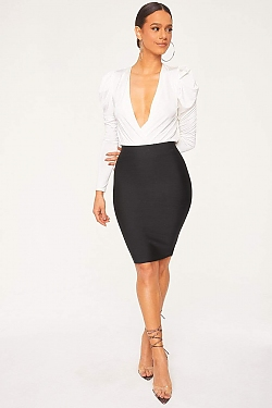 See Bodycon Pencil Skirt in Black
