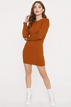See Long Sleeve Cotton Mini Dress in Terracotta