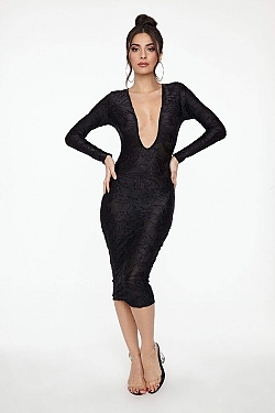 See Long Sleeve Sparkle Dress With Low Draped Back in Multicolored