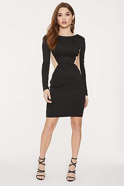 See Sheer Mesh Cut-Out Long Sleeve Bodycon Dress in Black