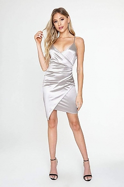 See Asymmetrical Cross Front Cami Dress in Silver
