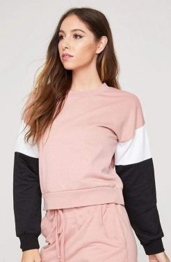 See Striped Sleeve Pull Over in Mauve