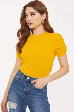 See Classic Ruched Sleeve Blouse in Yellow