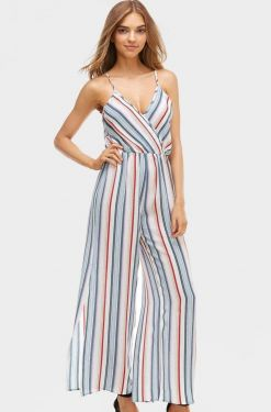 See Striped Slit Pant Jumpsuit in White