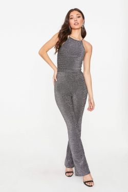 See Midnight Shimmer Tank and Pant Set in Black/Silver